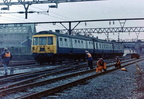 Class 303 No 303067 enters the newly revamped Guide Bridge station with a Glossop to Piccadilly service c 1986