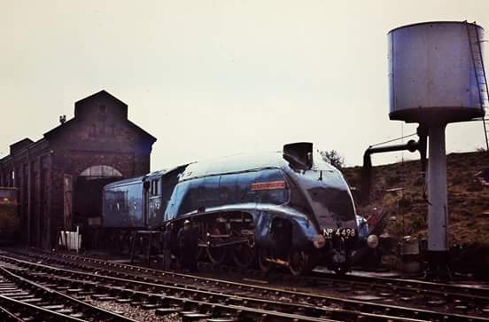 4498 'Sir Nigel Gresley' quite early on in preservaton in about 1972,I photographed this superb machine at the now closed Dinting Railway Centre near Glossop in Derbyshire...jpg